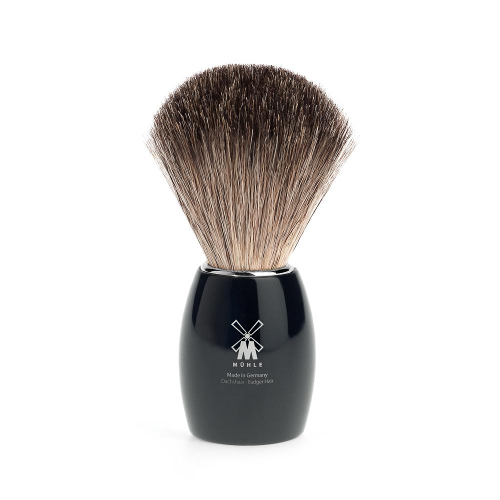 Modern-blaireau-de-rasage-muhle-pur-gris-poignee-en-resine-noir