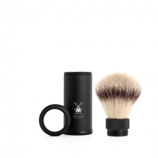 blaireau-synthetique-de-voyage-noire-muhle-silvertip-fibre