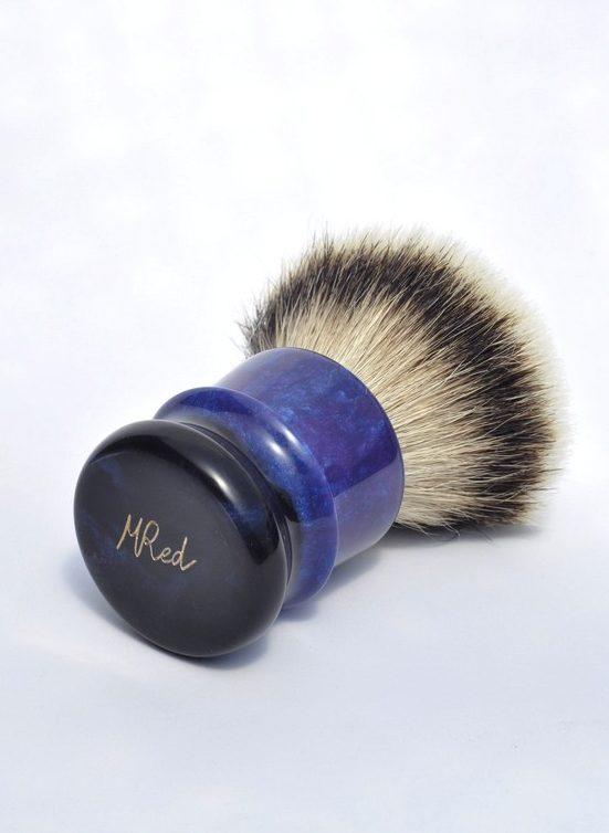 blaireau-mred-lpl-26mm-silvertip-fan-sur-resine-bleue-noire-violette